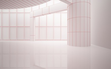 Abstract red drawing white interior multilevel public space with window. 3D illustration and rendering.