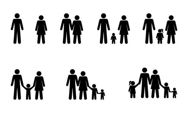 pictogram people set family stick figure man icons