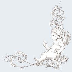 Vintage decorative element engraving with Baroque ornament and cupid