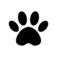Vector paw print icon. Paw of an animal, canine footprints. Trace of the cat.