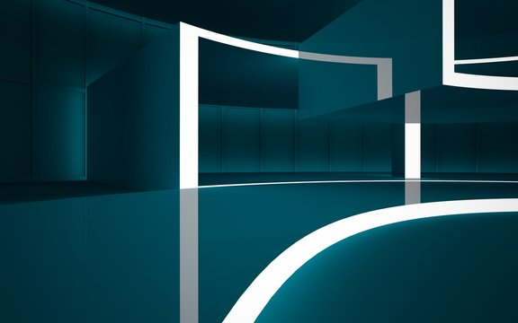 Abstract dark interior multilevel public space with neon lighting. 3D illustration and rendering