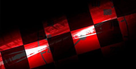 Racing car light in motion with checkered background