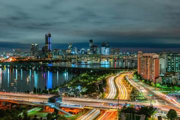 Fotobehang Las Vegas Seoul City Skyline, the best view of South Korea