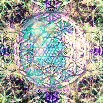 Abstract mandala with flower of life