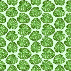 Self adhesive Wall Murals Draw Monstera Tropical Leaves Seamless Textile Patten Vector Design