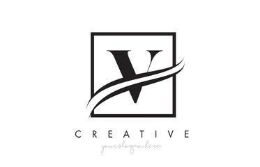 V Letter Logo Design with Square Swoosh Border and Creative Icon Design.