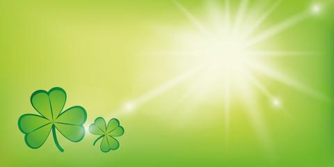 sunny green background with shamrock clover vector illustration EPS10