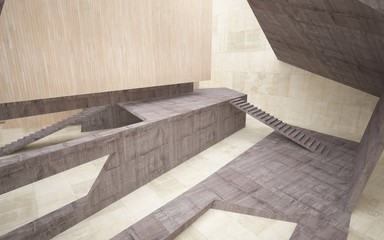 Canvas Prints Stairs Abstract concrete and wood interior multilevel public space with window. 3D illustration and rendering.