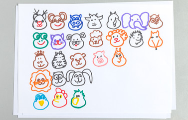 Kid drawings set of different animal and bird heads.