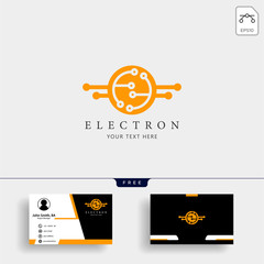 electrical connection technology logo template with business card design