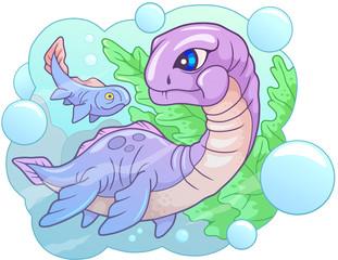 cartoon cute little dinosaur plesiosaurus, funny illustration