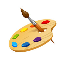 vector illustration of wooden artist palette with brush and paint