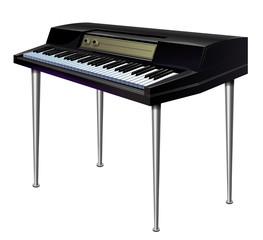 vector illustration of electronic piano synthesizer black on thin long legs