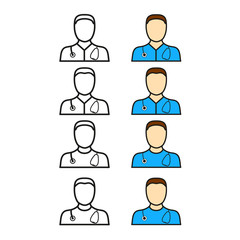 Set avatar, doctor whith phonendoscope thin line flat color icon. Linear vector illustration. Pictogram isolated on white background.