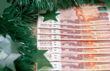 Russian banknotes on New Year's holiday
