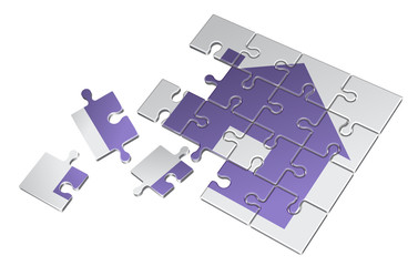 vector illustration of puzzle three-dimensional picture of the house lilac color