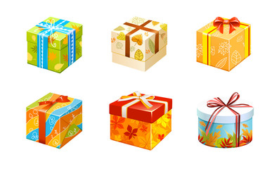 vector set of boxes with gifts of different shapes in a multi-colored wrapper tied with festive ribbons
