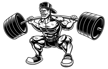 Vector illustration of Bodybuilder doing squats with barbell