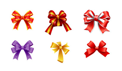 vector set of different types of bows from ribbons for gifts and presents