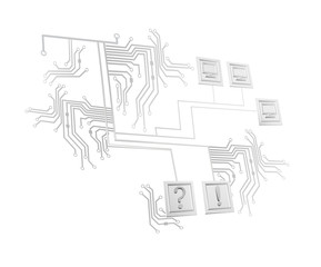 vector illustration of abstraction in the form of a computer Board with schematic clients and computers