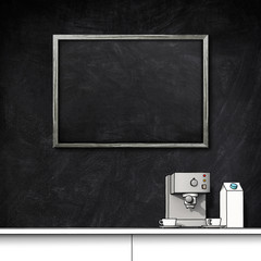 3d illustration rendering of blank blackboard frame and coffee machine with cups and milk