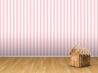 3d illustration rendering of gingerbread house and empty room with pink striped wallpaper and brown parquet
