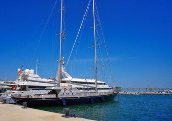 Boats in marina port of Denia in Spain