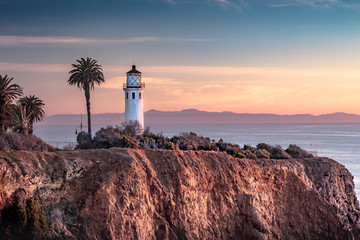 Beautiful coastal view of Point Vicente Lighthouse. Rancho Palos Verdes, California at sunset