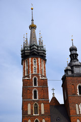 Church of Mariacki or St Marys Church in Krakow Poland. Every hour a trumpet is heard from the tallest tower