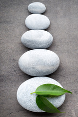 Wall Mural - Spa stones on the grey  background.