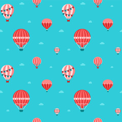 Aerostat in the sky flat seamless pattern. Red, pink and blue.