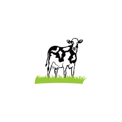 cow with horns standing on the ground - farming emblem,dairy cows  logo design.
