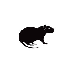 Rat and mouse vector silhouette inspiration logo.