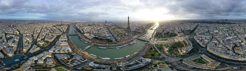 Paris Aerial 360 Panoramic Cityscape View in France. Beautiful City Skyline and Famous Landmarks, Central Downtown Buildings Wide Panorama. French Capital is very popular European Tourist Destination