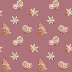 seamless pattern with watercolor christmas ginger cookies