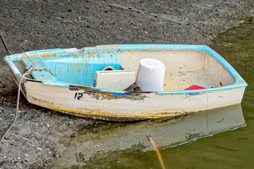 Boat's dingy was just used and left on creek bed