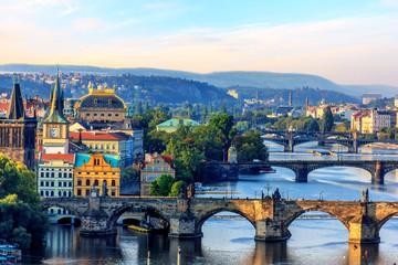 Charles Bridge, Old Town Tower and National theatre, Prague Fototapete