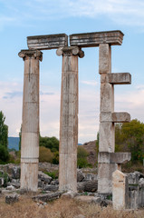 Famous Tetrapylon Gate dedicated to Aphrodite in Aphrodisias, Turkey, against blue sky