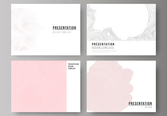 The minimalistic abstract vector illustration of the editable layout of the presentation slides design business templates. Topographic contour map, abstract monochrome background.
