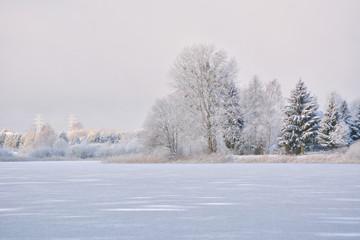 Zimowy krajobraz. Warmia, Polska
