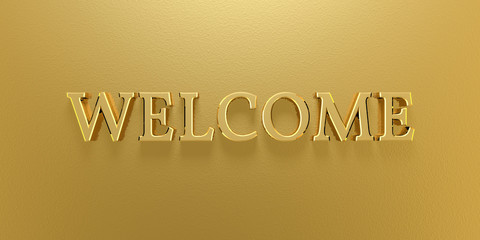 3D Illustration - welcome text gold