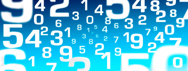 3D Illustration - Flying Numbers white blue