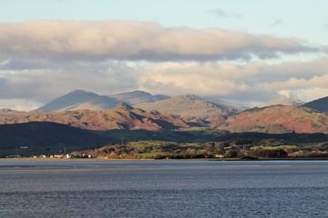 UK Duddon Estuary Cumbrian Coast. View towards the distant English Lake District.