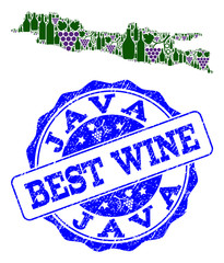 Vector collage of grape wine map of Java Island and grunge seal stamp for best wine. Map of Java Island collage designed with bottles and grape berries.