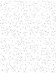 Delicate Sketched Branch Vector Pattern. Hand Drawn Light Gray Twigs on a White Background. Lovely Blooming Sprigs. Elegant Floral Pattern.