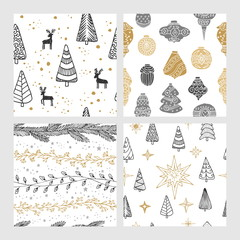 Beautiful seamless Christmas and winter patterns, drawn by hand. Many festive elements and patterns. Vector graphics and illustration.