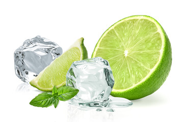 Ice cubes with lime / ice cubes, lime and basil leaves isolated on white background Wall mural