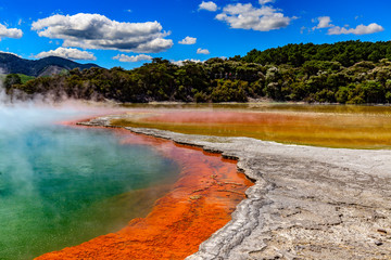 "New Zealand, North Island. Rotorua, Wai-O-Tapu (""Sacred Water"" in Maori) Thermal Wonderland. The Champagne Pool - the most colourful geothermal area"