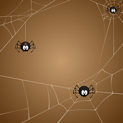 vector illustration of spiders and spiderweb on brown background