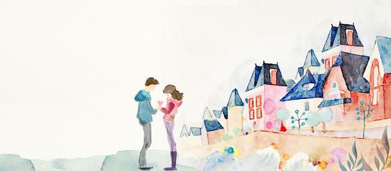 Romantic date.  Love concept. Watercolor background